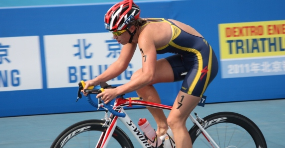 Lisa Norden during the bike leg in the World Championship Series Final in Beijing