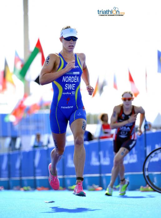 Lisa Norden first off the bike in Abu Dhabi